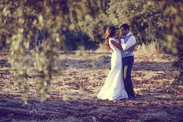 Just married couple in nature background